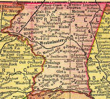 1895 map of Carroll County