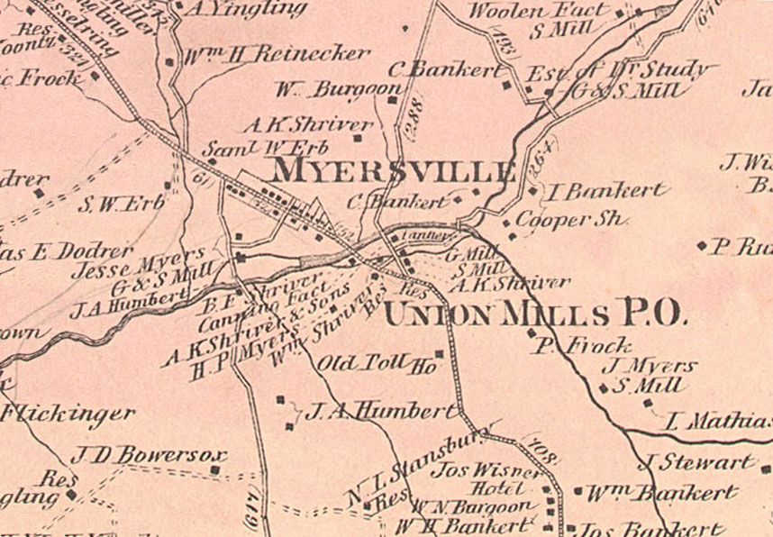 1877 map of Union Mills area