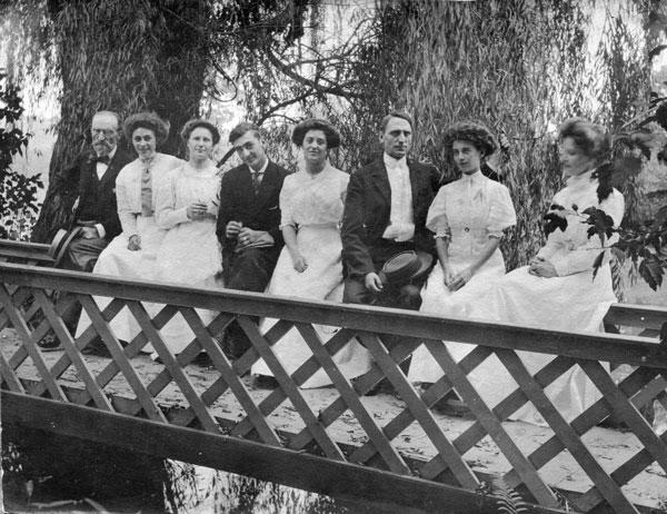 Shriver family on bridge