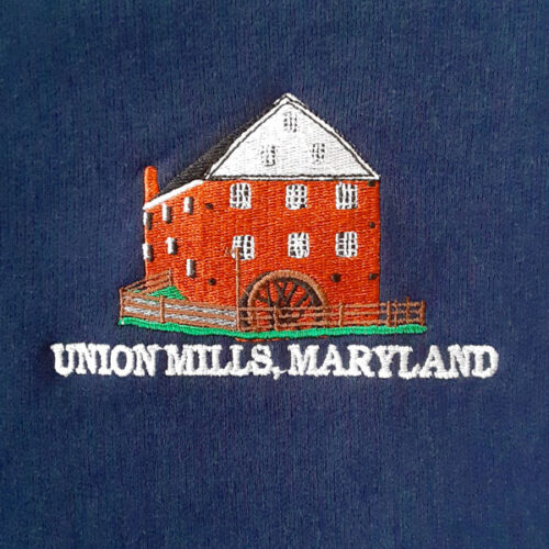 union mills sweatshirt navy emblem closeup
