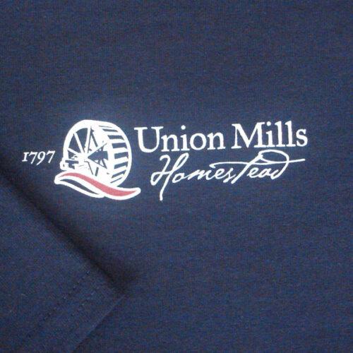 union mills tshirt navy closeup